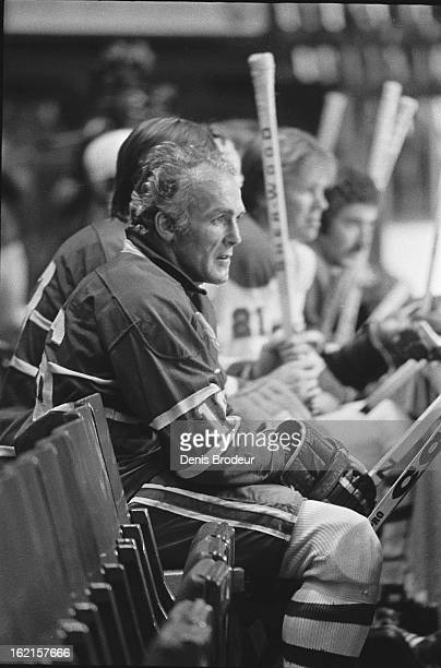 Henri Richard of the Montreal Canadiens looks on during practice at the Montreal Forum circa 1975 in Montreal Quebec Canada