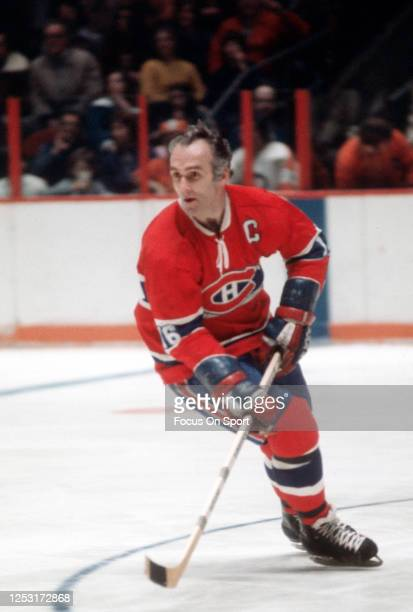 Henri Richard of the Montreal Canadiens skates against the Philadelphia Flyers during an NHL Hockey game circa 1974 at The Spectrum in Philadelphia,...