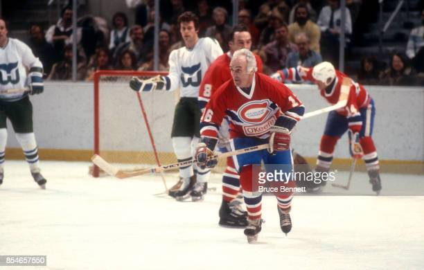 Henri Richard of the Montreal Canadiens skates on the ice during an OldTimers Game against the Hartford Whalers OldTimers circa January 1982 at the...