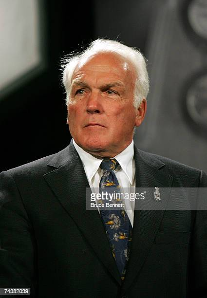 Henri Richard stands on stage during the presentation of the Maurice Rocket Richard Trophy during the NHL Awards Luncheon on June 2 2007 at...