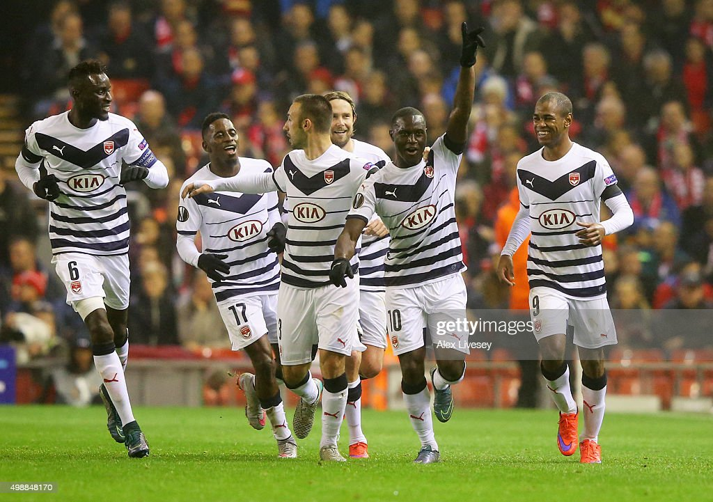 Henri Saivet of Bordeaux (10) celebrates with team mates as he scores their first goal during the UEFA Europa League Group B match between Liverpool FC and FC Girondins de Bordeaux at Anfield on November 26, 2015 in Liverpool, United Kingdom.