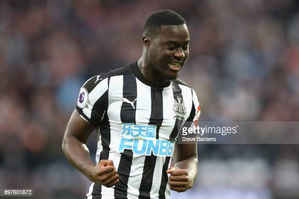 Henri Saivet of Newcastle United celebrates after scoring his sides first goal during the Premier League match between West Ham United and Newcastle...