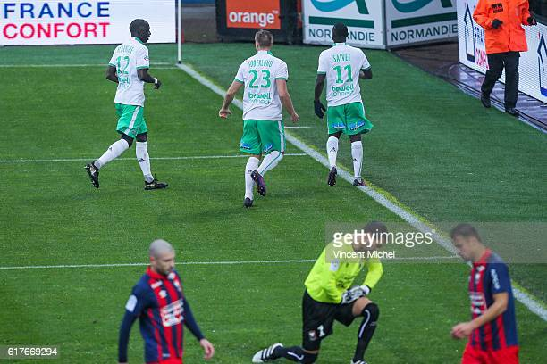 Henri Saivet of Saint-Etienne jubilates as he scores the first goal during the Ligue 1 match between SM Caen and AS Saint-Etienne at Stade Michel...