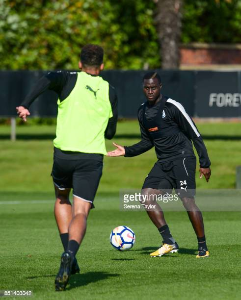 Henri Saivet passes the ball during the Newcastle United Training session at the Newcastle United Training Centre on September 22 in Newcastle upon...