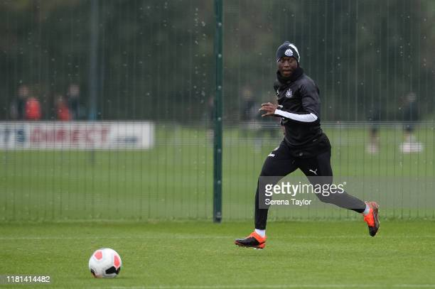 Henri Saivet runs on to the ball to make a cross during the Newcastle United Training Session at the Newcastle United Training Centre on October 16...