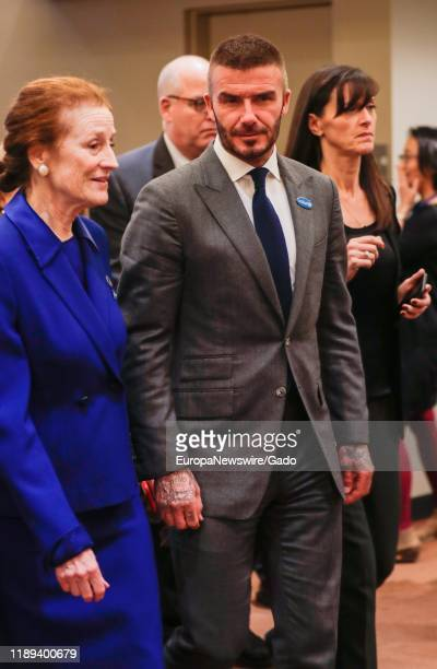 Henrietta Fore Executive Director of the UN Childrens Fund along with David Beckham Goodwill Ambassador for UNICEF at the United Nations New York...