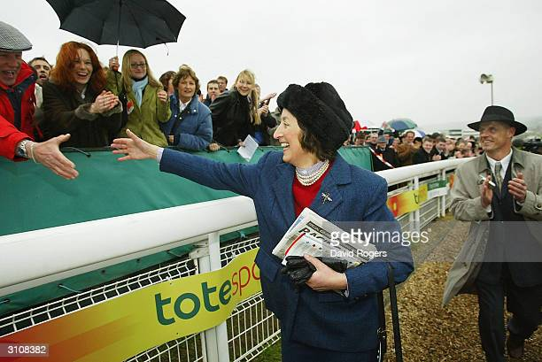 Henrietta Knight the trainer of Best Mate is congratuled by the crowd after Best Mate wins the Totesport Cheltenham Gold Cup held on the third day of...