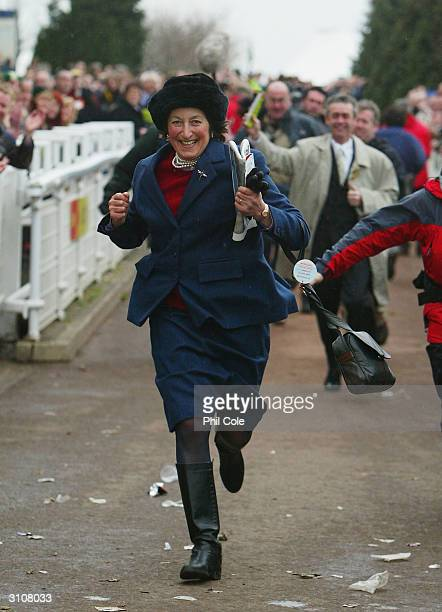 Henrietta Knight trainer of The totesport Cheltenham Gold Cup Steele Chase winner Best Mate is seen on the third day of the annual National Hunt...