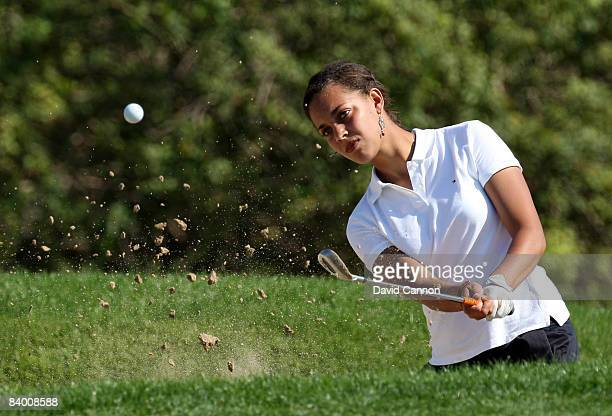 Henrietta Zuel of England hits her third shot at the 8th hole during the second round of the Dubai Ladies Masters on the Majilis Course at the...