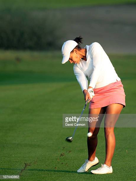 Henrietta Zuel of England plays her second shot at the 10th hole during the second round of the 2010 Omega Dubai Ladies Masters on the Majilis Course...
