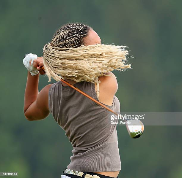 Henrietta Zuel of England plays her tee shot on the 14th hole during the second round of the Hypo Vereinsbank Ladies German Open Golf at Golfpark Gut...
