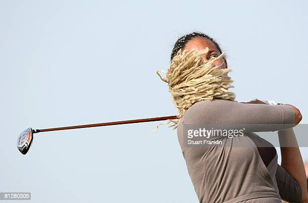 Henrietta Zuel of England plays her tee shot on the 16th hole during the first round of the Hypovereinsbank Ladies German Open Golf at Golfpark Gut...