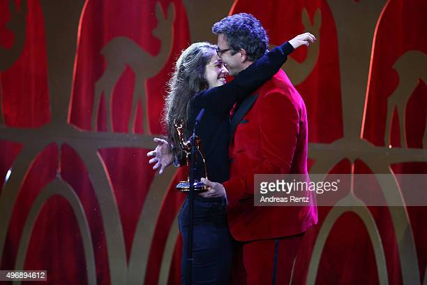 Henriette Confurius and Hans Sigl are seen on stage during the Bambi Awards 2015 show at Stage Theater on November 12 2015 in Berlin Germany