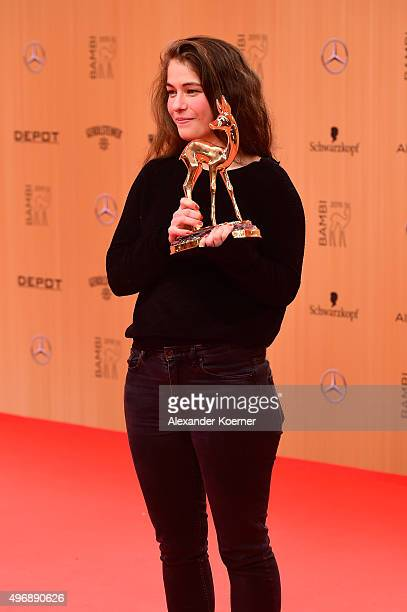 Henriette Confurius is seen with her award at the Bambi Awards 2015 winners board at Stage Theater on November 12 2015 in Berlin Germany