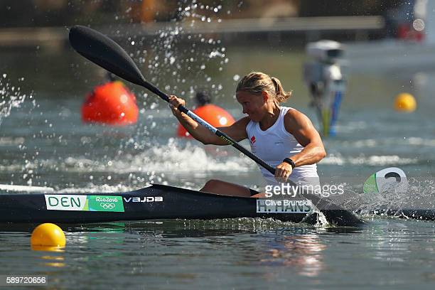 Henriette Hansen of Denmark competes in the Women's Kayak Single 200m Heat 2 on Day 10 of the Rio 2016 Olympic Games at Lagoa Stadium on August 15...