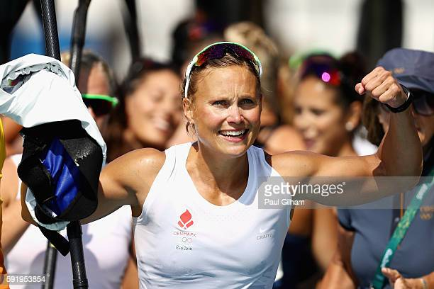 Henriette Hansen of Denmark reacts after the Womens' Kayak Four 500m on Day 14 of the Rio 2016 Olympic Games at the Lagoa Stadium on August 19 2016...