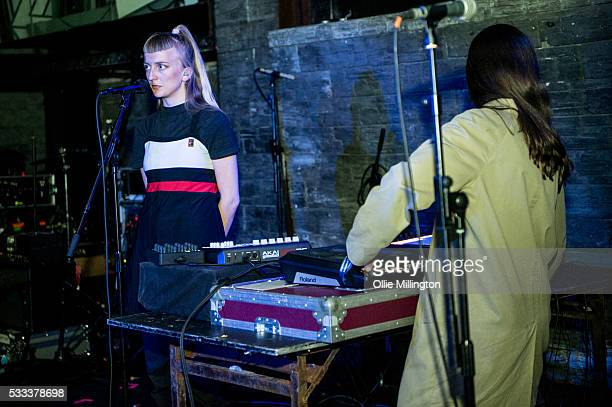 Henriette Motzfeldt and Catharina Stoltenberg of Smerz perform onstage at The Arch on Day 3 of The Great Escape 2016 on May 21 2016 in Brighton...