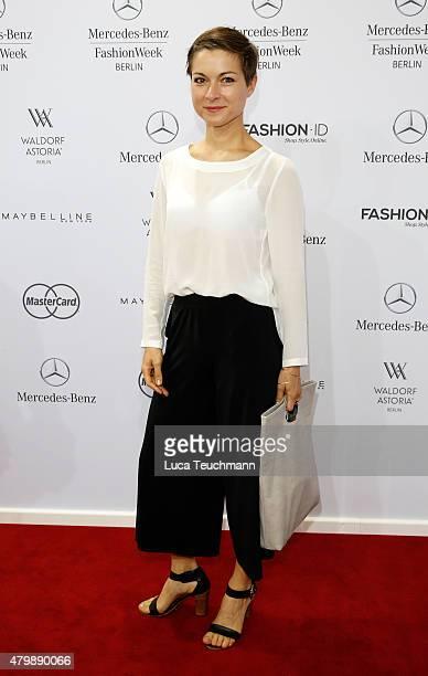 Henriette RichterRoehl attends the Minx by Eva Lutz show during the MercedesBenz Fashion Week Berlin Spring/Summer 2016 at Brandenburg Gate on July 8...