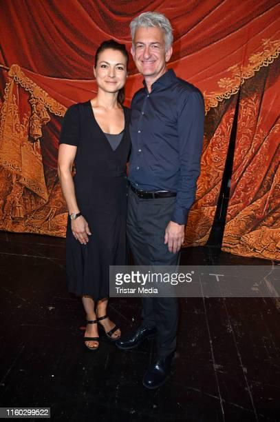 Henriette Richter-Roehl, Dominic Raacke attends the Schiller-Theater repertoire 2019/2020 prress conference on August 8, 2019 in Berlin, Germany.