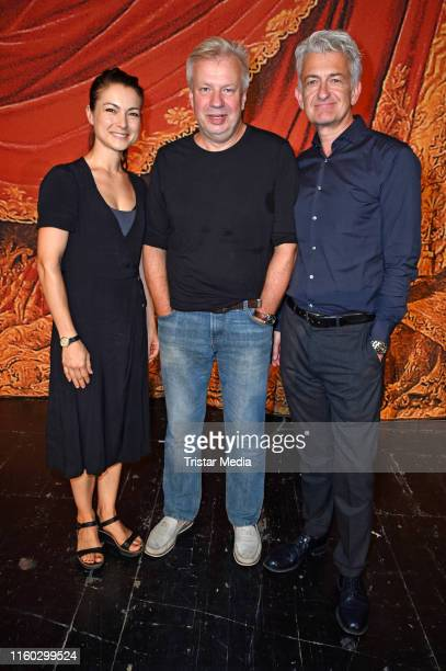 Henriette RichterRoehl Tobias Wellemyer and Dominic Raacke attend the SchillerTheater repertoire 2019/2020 prress conference on August 8 2019 in...