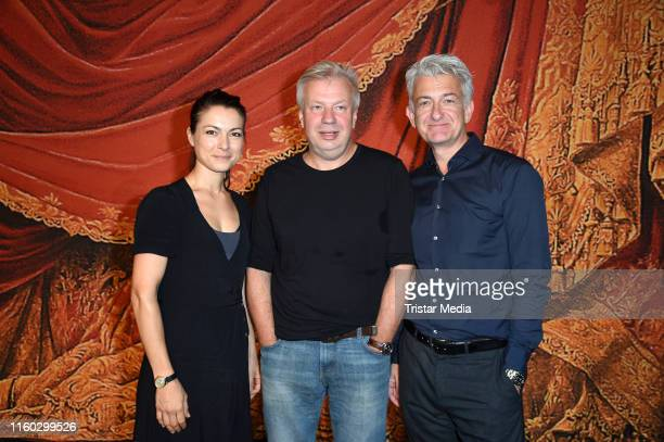 Henriette Richter-Roehl, Tobias Wellemyer and Dominic Raacke attend the Schiller-Theater repertoire 2019/2020 prress conference on August 8, 2019 in...