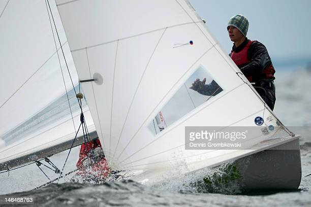 Henrik and Frederik Schaal of Germany compete in the Men's 470 race during day two of the Kieler Woche ISAF Sailing World Cup event at Schilksee on...