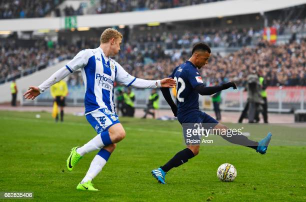 Henrik Bjordal of IFK Goteborg and Tobias Sana of Malmo FF competes for the ball during the Allsvenskan match between IFK Goteborg and Malmo FF at...