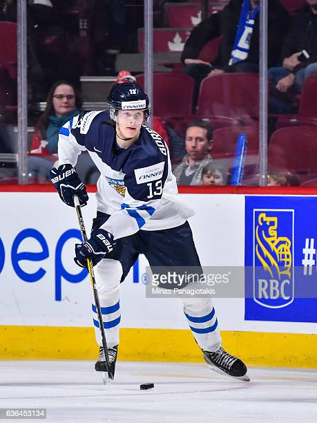 Henrik Borgstrom of Team Finland looks to play the puck during the IIHF exhibition game against Team Canada at the Bell Centre on December 19 2016 in...
