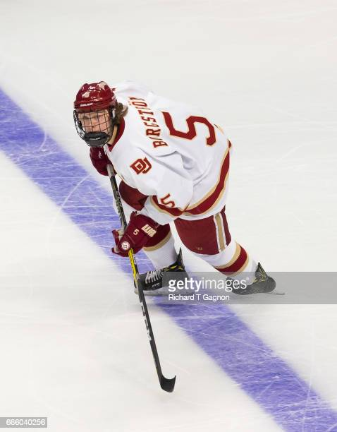 Henrik Borgstrom of the Denver Pioneers skates against the Notre Dame Fighting Irish during game two of the 2017 NCAA Division I Men's Hockey Frozen...