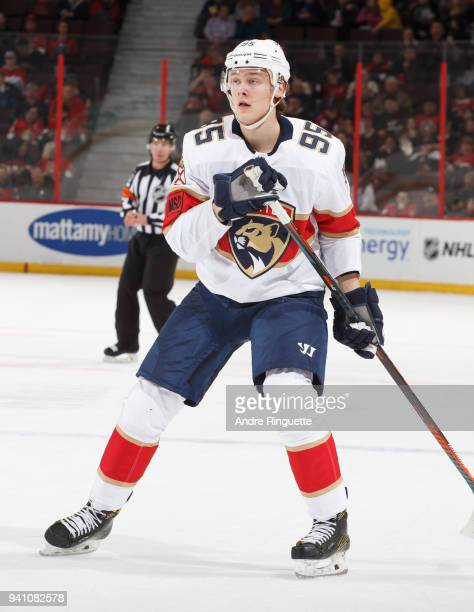 Henrik Borgstrom of the Florida Panthers skates against the Ottawa Senators at Canadian Tire Centre on March 29 2018 in Ottawa Ontario Canada
