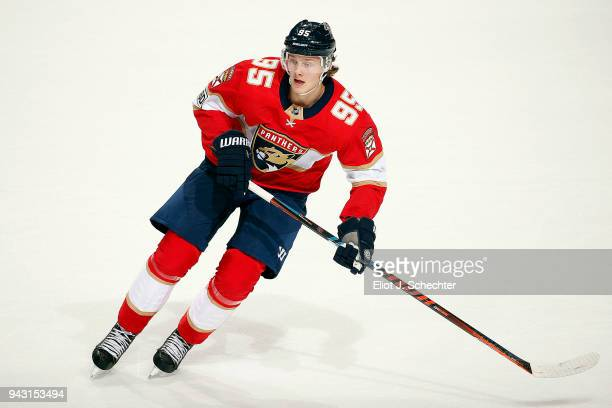 Henrik Borgstrom of the Florida Panthers skates for position against the Buffalo Sabres at the BBT Center on April 7 2018 in Sunrise Florida
