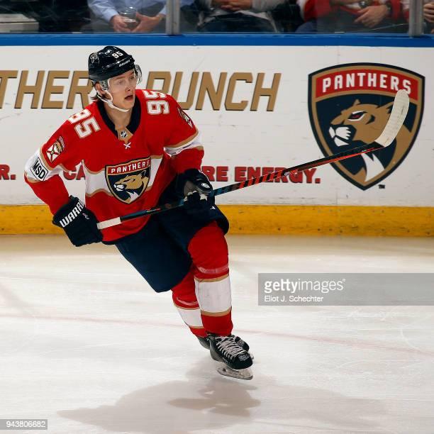 Henrik Borgstrom of the Florida Panthers skates for position against the Buffalo Sabres at the BBT Center on April 7 2018 in Sunrise Florida Henrik...