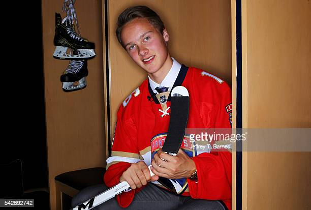 Henrik Borgstrom poses for a portrait after being selected 23rd overall by the Florida Panthers in round one during the 2016 NHL Draft on June 24...