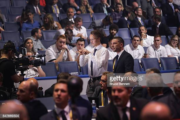 Henrik Borgstrom reacts after being selected 23rd overall by the Florida Panthers during round one of the 2016 NHL Draft on June 24 2016 in Buffalo...