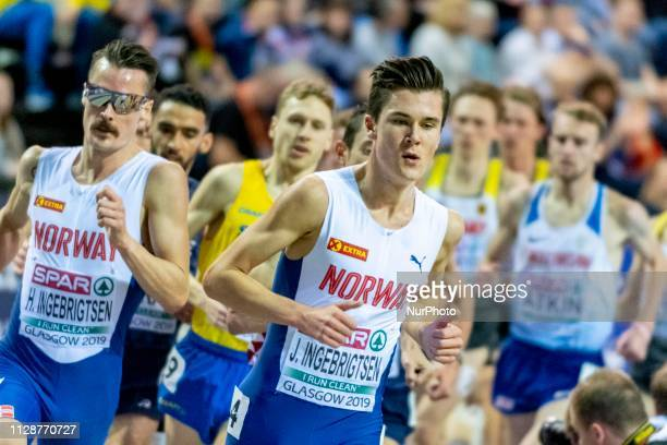 Henrik Borkja NOR and INGEBRIGTSEN Jakob NOR competing in the 3000m Men Final event during day TWO of the European Athletics Indoor Championships...
