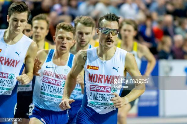 Henrik Borkja NOR competing in the 3000m Men Final event during day TWO of the European Athletics Indoor Championships 2019 at Emirates Arena in...