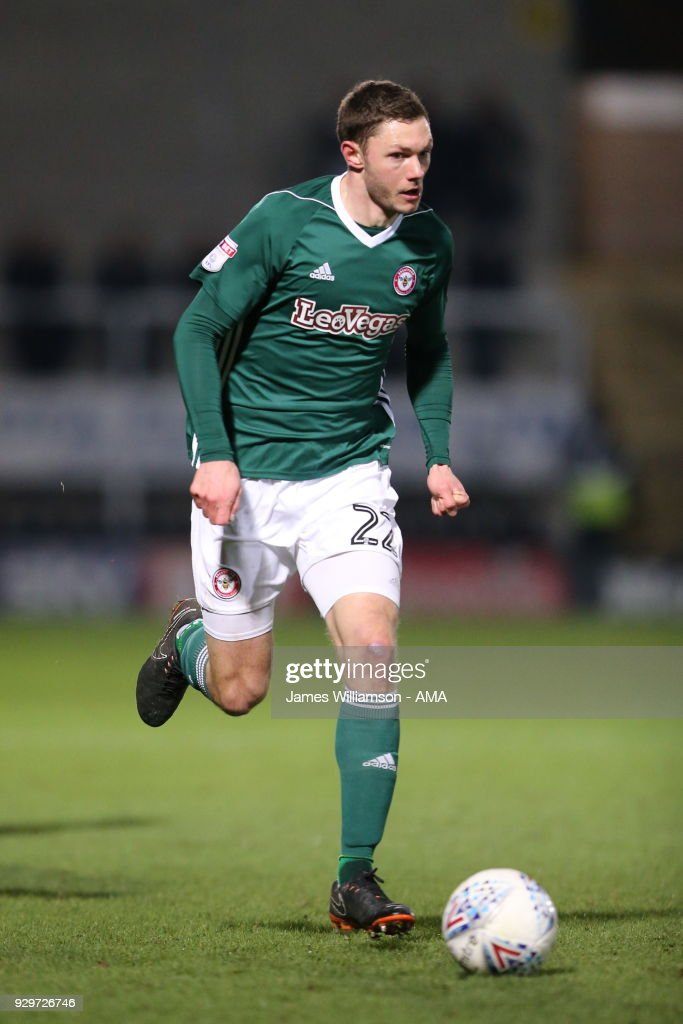 Henrik Dalsgaard of Brentford during the Sky Bet Championship match between Burton Albion and Brentford the at Pirelli Stadium on March 6, 2018 in Burton-upon-Trent, England.