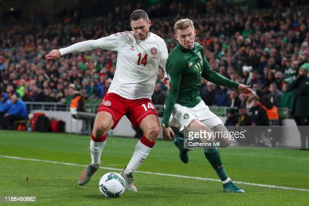 Henrik Dalsgaard of Denmark battles for possession with James McClean of Republic of Ireland during the UEFA Euro 2020 qualifier between Republic of...
