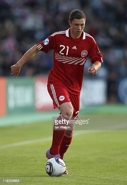 Henrik Dalsgaard of Denmark in action during the UEFA European Under21 Championship Group A match between Denmark and Belarus at the Aarhus stadium...