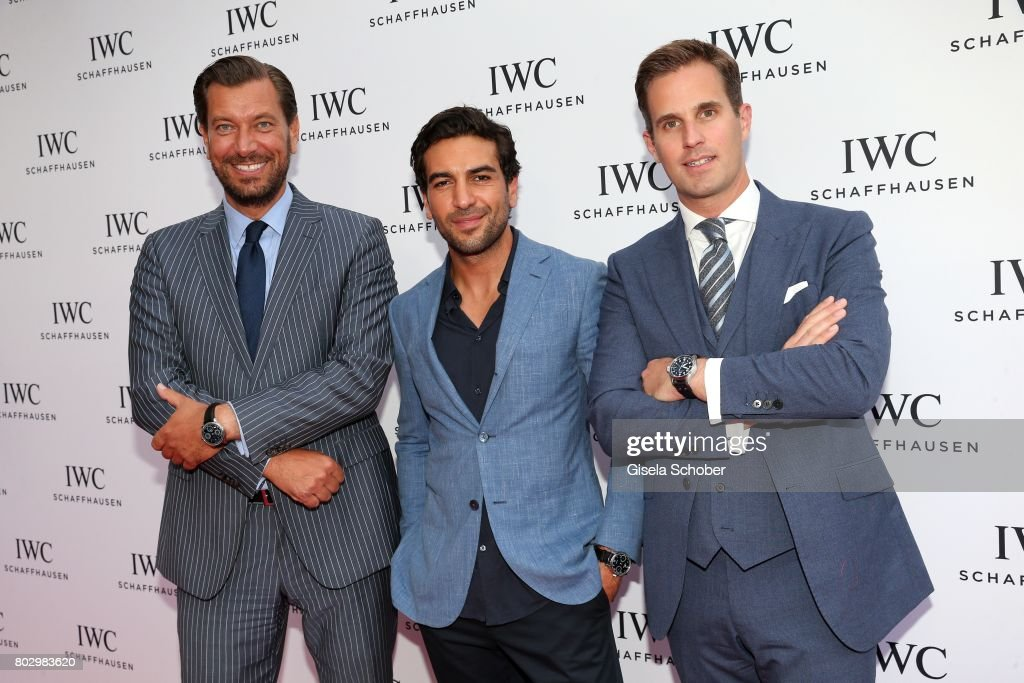 Henrik Ekdahl, Managing Director IWC Northern Europe, Elyas M'Barek and CEO IWC Schaffhausen, Christoph Grainger-Herr attend the exclusive grand opening event of the new IWC Schaffhausen Boutique in Munich on June 28, 2017 in Munich, Germany.