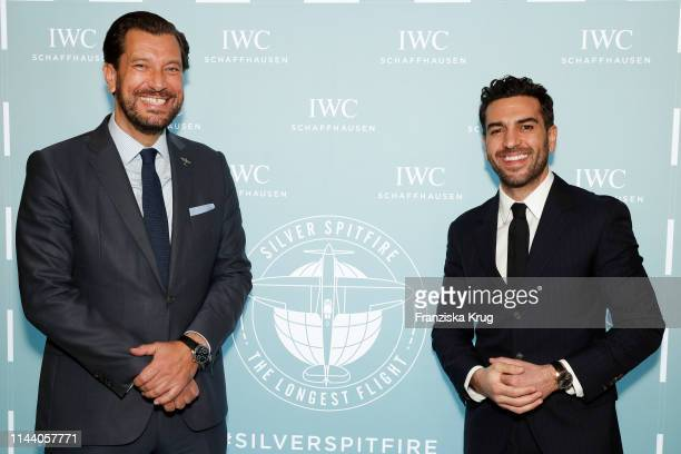 Henrik Ekdahl Managing Director Richemont Northern Europe and Elyas M'Barek attend the IWC Schaffhausen Pilots Watches Launch Event Boutique in...