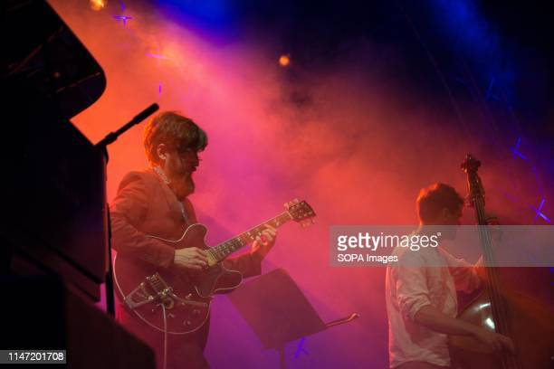 Henrik Hallberg Guitarist of Filip Jers Quartet seen performing on stage A weekly jazz festival takes place every year at Technopolis in Gazi with...
