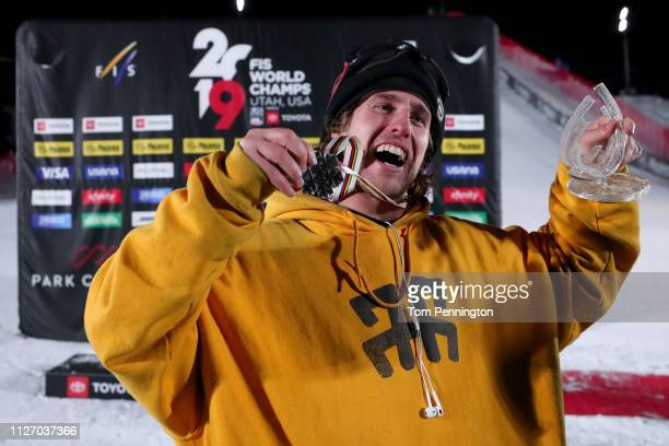 Henrik Harlaut of Sweden in second place celebrates on the podium in the Men's Ski Big Air Final at the FIS Freeski World Championships on February...