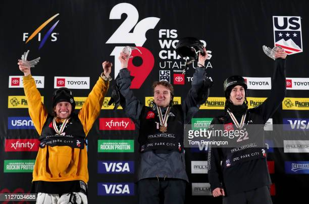Henrik Harlaut of Sweden in second place Fabian Boesch of Switzerland in first place and Alex BeaulieuMarchand of Canada celebrate on the podium in...