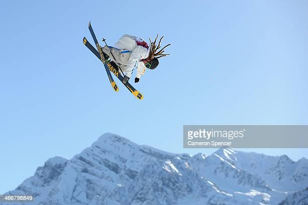 Henrik Harlaut of Sweden trains during a Ski Slopestyle practice at the Extreme Park at Rosa Khutor Mountain ahead of the Sochi 2014 Winter Olympics...