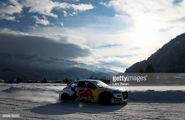 Henrik Kristoffersen drives during the final day of the Audi Quattro #SuperQ on January 20 2016 in Kitzbuehel Austria