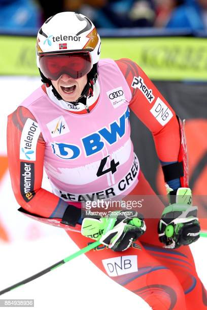 Henrik Kristoffersen of Norway celebrates after crossing the finish line in the second run of the Men's Giant Slalom during the Audi Birds of Prey...