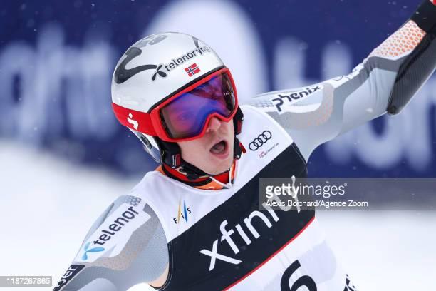 Henrik Kristoffersen of Norway celebrates during the Audi FIS Alpine Ski World Cup Men's Giant Slalom on December 8 2019 in Beaver Creek USA