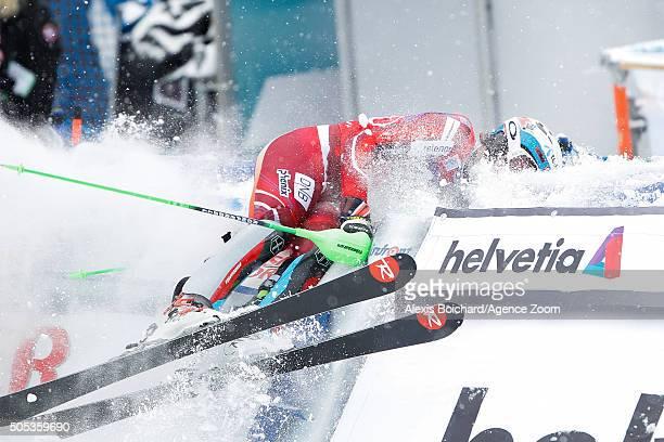 Henrik Kristoffersen of Norway celebrates during the Audi FIS Alpine Ski World Cup Men's Slalom on January 17 2016 in Wengen Switzerland