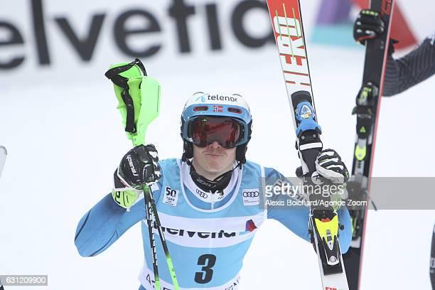 Henrik Kristoffersen of Norway celebrates during the Audi FIS Alpine Ski World Cup Men's Slalom on January 08 2017 in Adelboden Switzerland